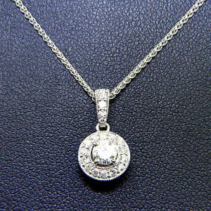 Classic Diamond Solitaire Pendant with Diamond Accents