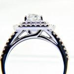 Ladies 18K Cushion Cut Diamond Enagagement Ring