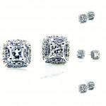 Ladies 18K Round Pave Diamond Stud Earrings