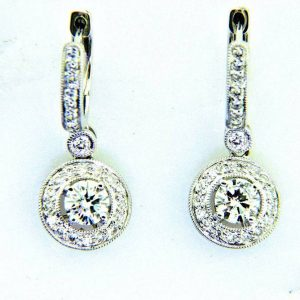 Ladies 18k Diamond Dangle Earrings