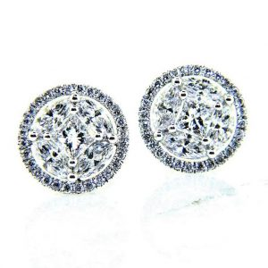 Ladies 18K Bling Diamond Stud Earrings