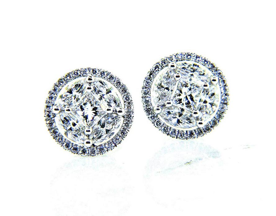 Las 18k Bling Diamond Stud Earrings