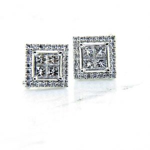 "Ladies 18K ""Convertible"" Diamond Stud Earrings"