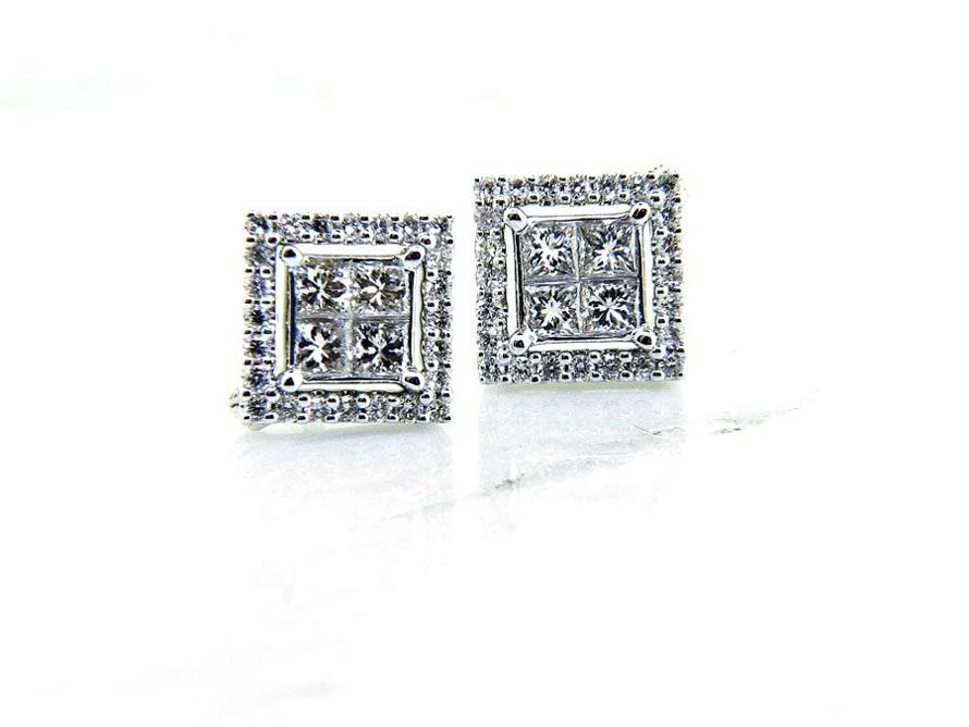"""Ladies 18K """"Convertible"""" Diamond Stud Earrings"""