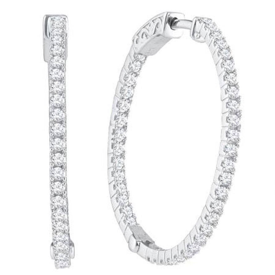 """Ladies 14K """"Inside/Out"""" Diamond Hoop Earrings 1.00ctw"""