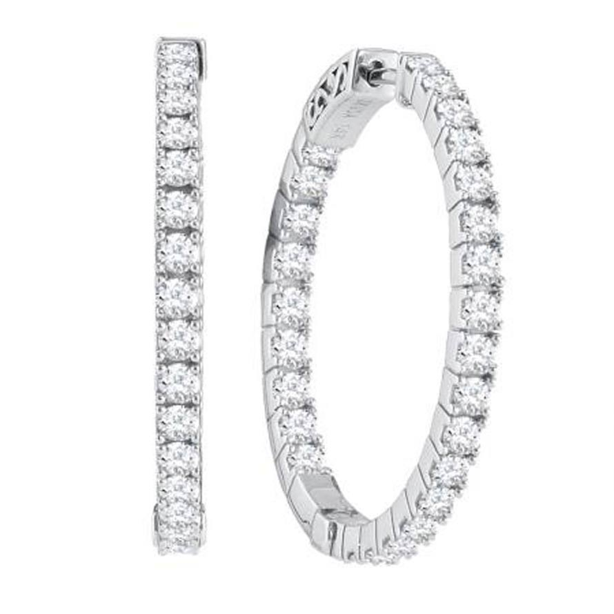 "Ladies 14K ""Inside/Out"" Diamond Hoop Earrings 2.00ctw"