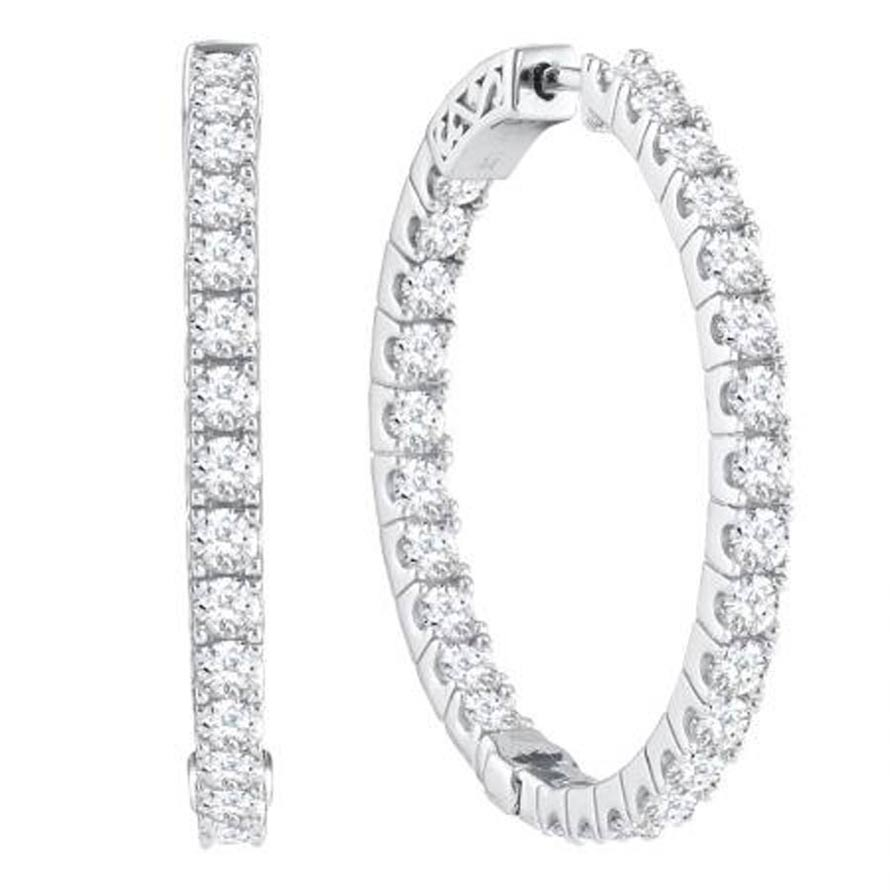 "Ladies 14K ""Inside/Out"" Diamond Hoop Earrings 3.00ctw"