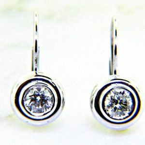 Ladies 14K Diamond Dangle Stud Earrings