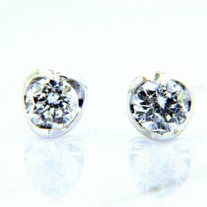 Ladies Crescent Diamond Stud Earrings