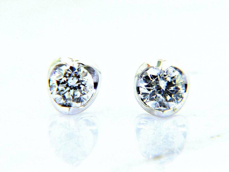 Ladies Crescent Diamond Stud Earrings