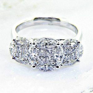 "Ladies 18K Radiance Collection ""Three Stone Look"" Diamond Ring"