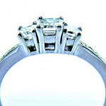 Ladies 14k Past, Present and Future Three Stone Emerald Cut Diamond Ring