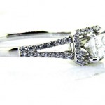Ladies 18k Princess Cut Diamond Engagement Ring