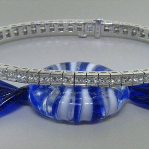 Ladies 18k Princess cut Diamond Eternity Bracelet