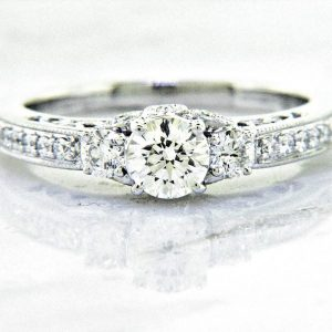 Ladies 18K Nouveau Estates Diamond Engagement Ring