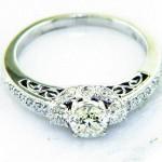 Ladies 18K Nouveau Estates Diamond Engagement Ring