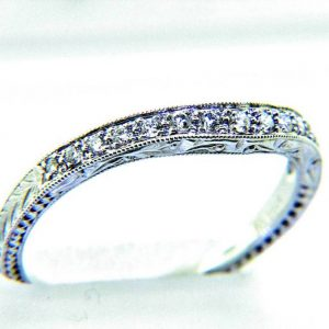 Ladies 18k Nouveau Estates Wave Style Diamond Anniversary