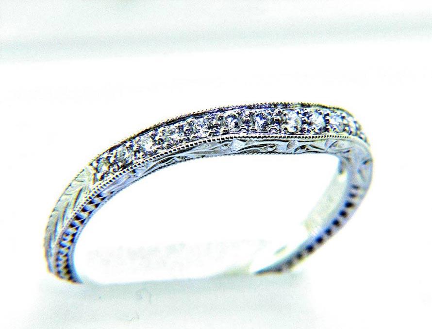 Ladies 18k Nouveau Estates Wave Style Diamond Anniversary