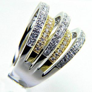 Ladies 18K Multi Band Diamond Anniversary