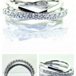 Ladies 18K CrisCross Diamond Anniversary