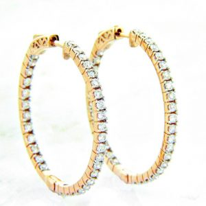 "Ladies 14K ""Inside/Out"" Diamond Hoop Earrings 1.50ctw"