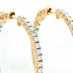 """Ladies 14K """"Inside/Out"""" Diamond Hoop Earrings 1.50ctw"""