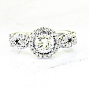 18k Braided Diamond Engagement Ring 1.23ctw
