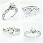 18k Braided Diamond Engagement Ring 0.73ctw