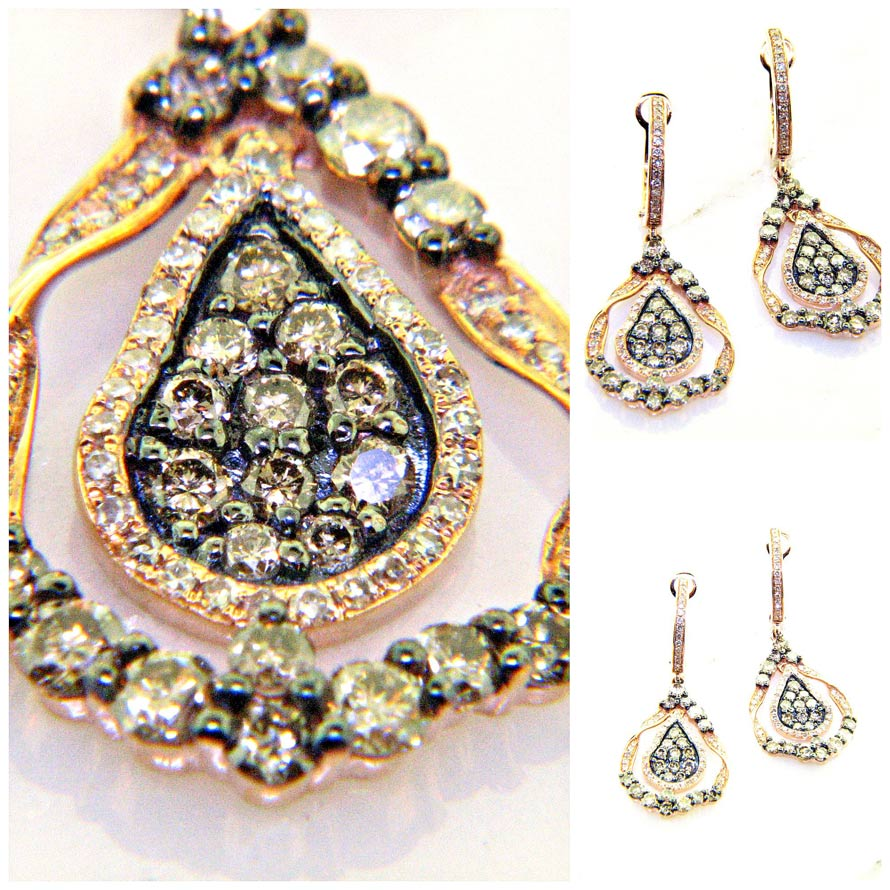 champagne colored diamond dangle earrings ll pavorsky. Black Bedroom Furniture Sets. Home Design Ideas