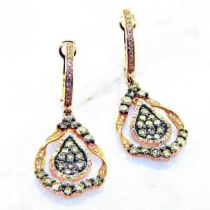 Champagne Colored Diamond Dangle Earrings