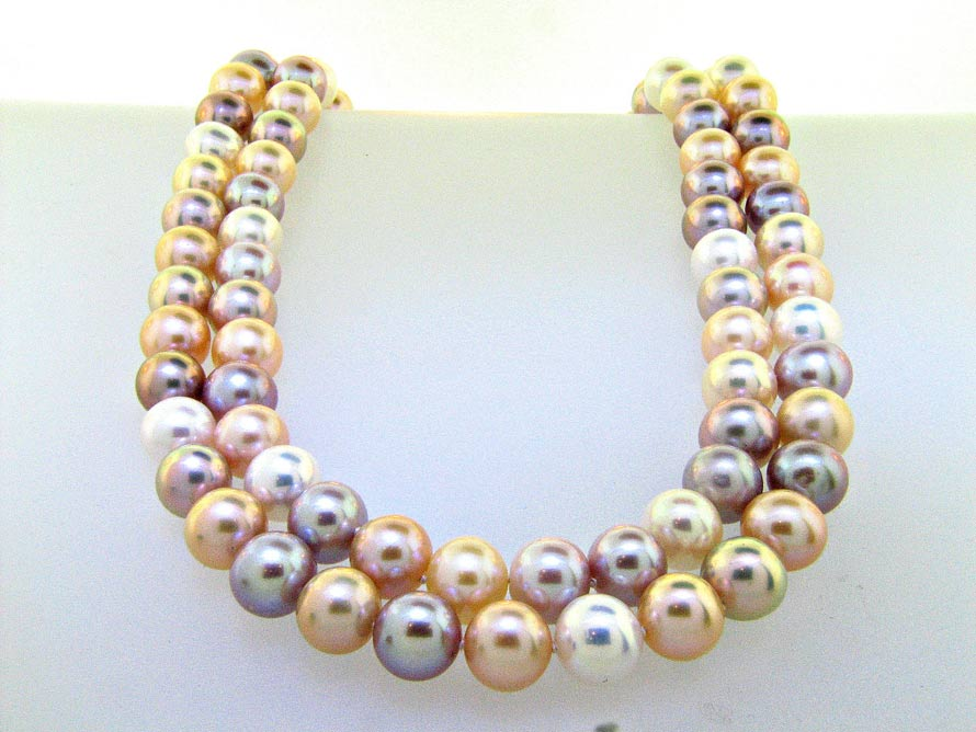Classic Double strand Mutli-Color Pastel Pearl Necklace