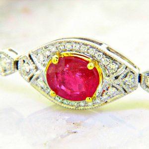 Estate Style Ruby and Diamond Bracelet 16.04ctw
