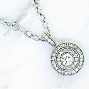 Nouveau Estates Style Double Halo Diamond Pendant