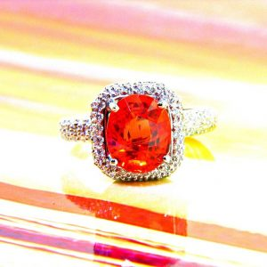 Oval Orange Sapphire Set