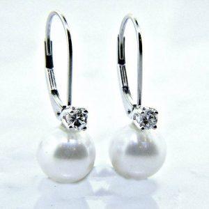Pearl and Diamond Dangle Earrings