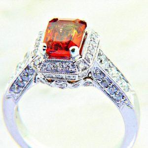 Sunset Collection Emerald Cut Orange Sapphire