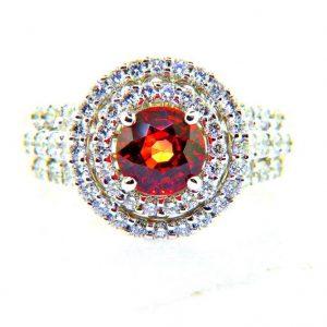 Round Brilliant Sapphire and Double Halo of Diamonds