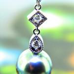 Tahitian & Gold South Sea Pearl & Diamond Drop Earrings