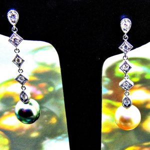 Tahitian & Gold South Sea Pearl & Diamond Drop Earrings