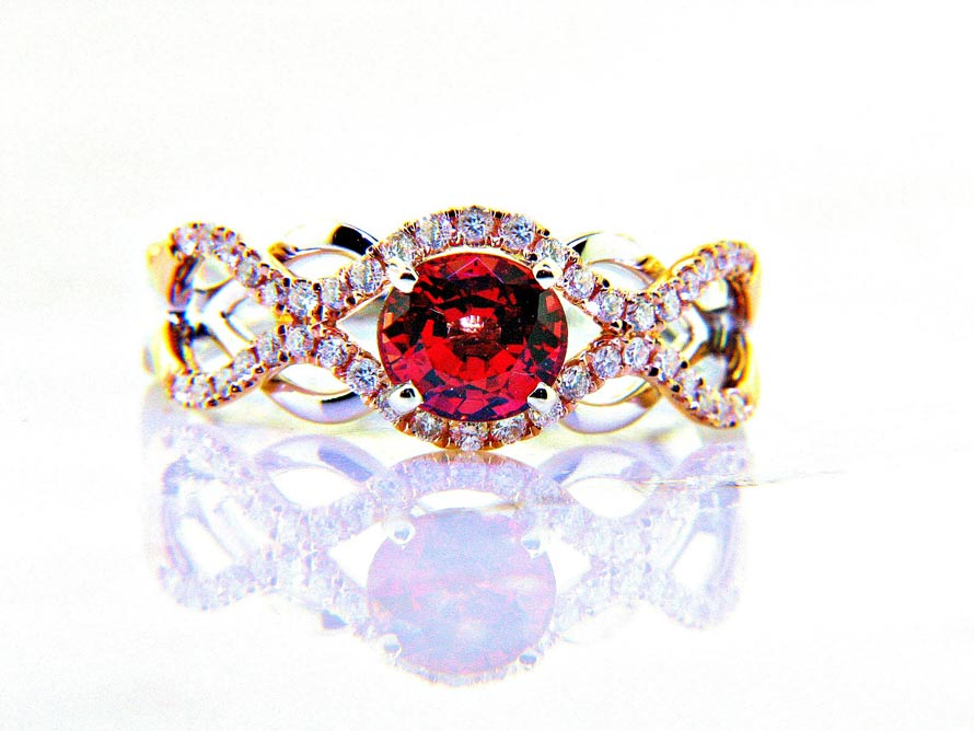 Sunset Collection Orange Sapphire And Diamond Ring