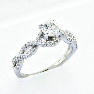 18K Braided Diamond Engagement Ring 0.93ctw