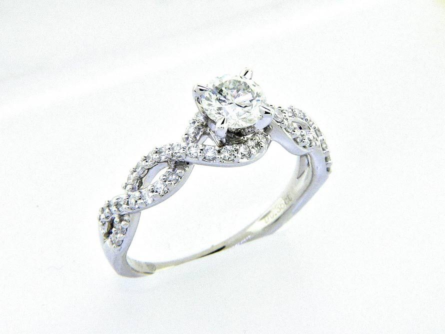 18K Braided Diamond Engagement Ring 0.93ctw