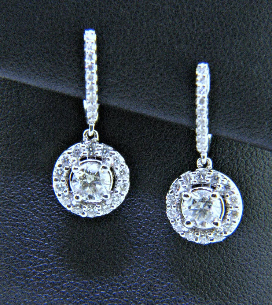 Huggie Style Dangle Diamond Earrings