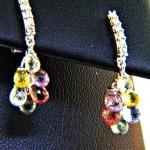 Sapphire Brilolette Diamond Dangle Earrings