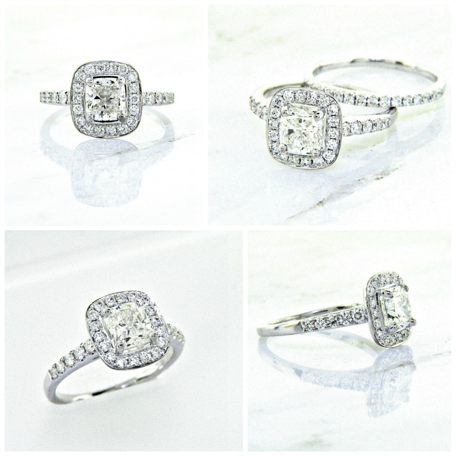 18k cushion cut diamond engagement ring diamond band 1 for Cushion cut engagement rings with wedding band
