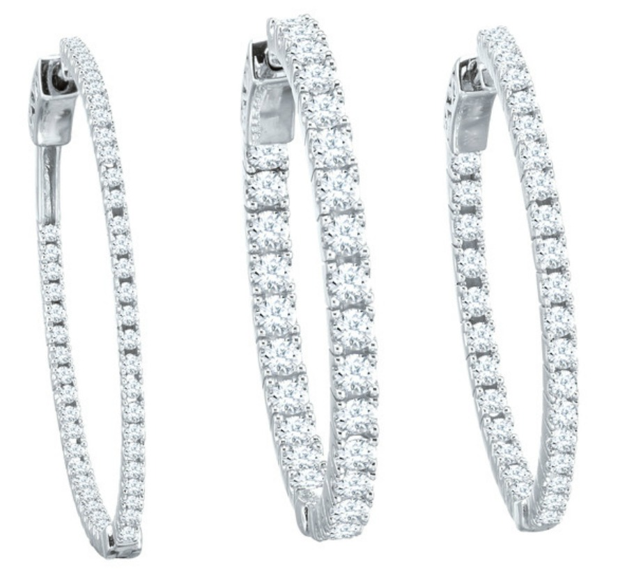 Inside Out Diamond Hoop Earrings 1 00ctw 5