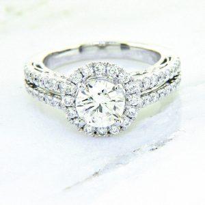 Ladies 18k Nouveau Estates Diamond Engagement Ring 1.45ctw.