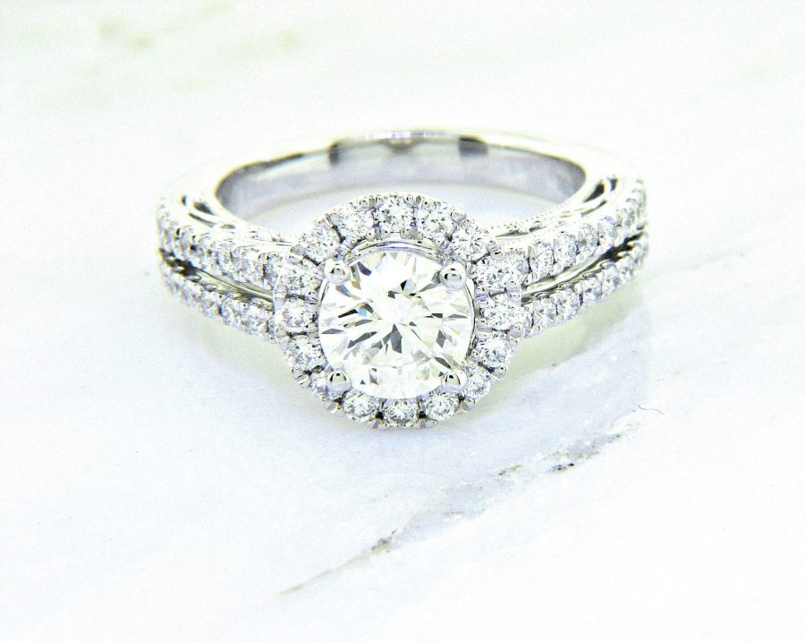Ladies 18k Nouveau Estates Diamond Engagement Ring 1.45ctw.