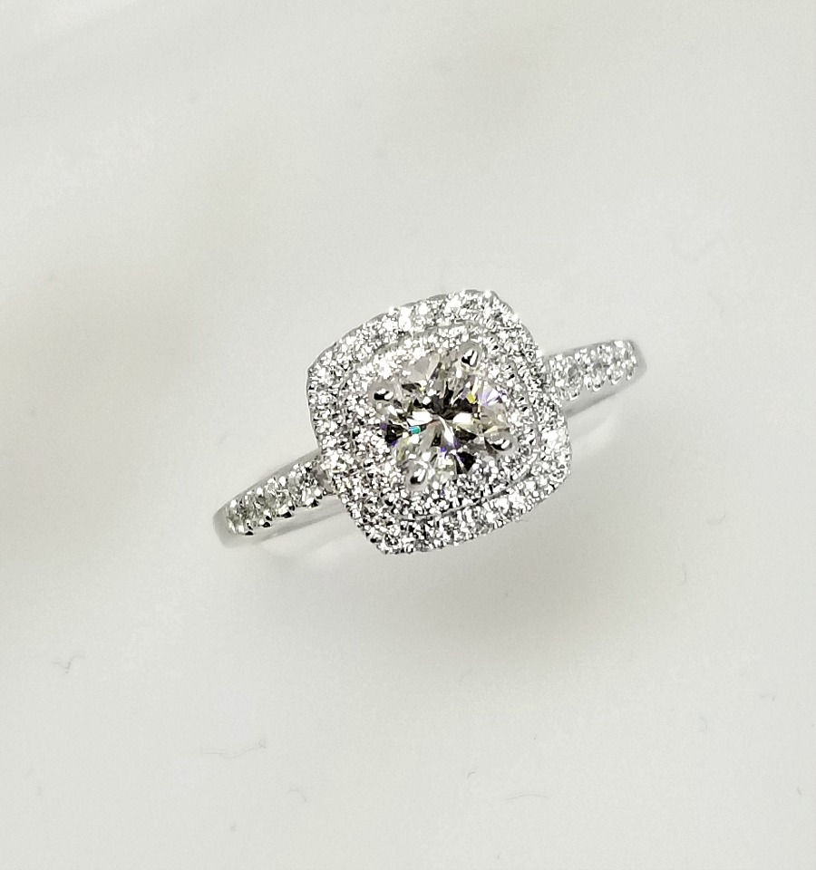 Double Halo Cushion Cut Diamond Engagement Ring 0 86ctw